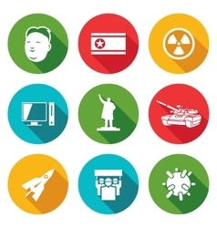 North korea icons set vector