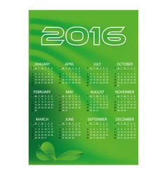 2016 simple business green waves wall calendar vector