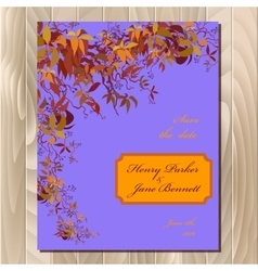 Autumn wild grape wedding card printable vector