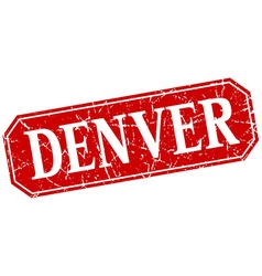 Denver red square grunge retro style sign vector