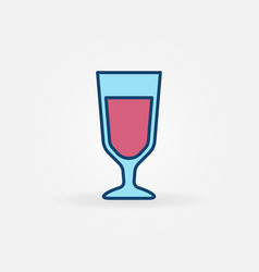 blue glass with red wine icon vector image vector image