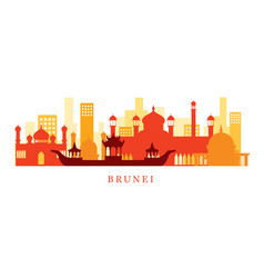 Brunei architecture landmarks skyline shape vector