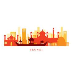 brunei architecture landmarks skyline shape vector image vector image