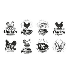 chicken label set food poultry farm meat egg vector image vector image