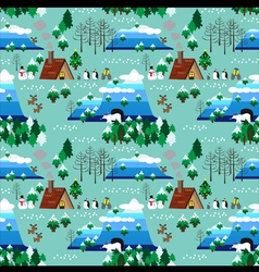 Christmas theme landscape seamless pattern vector image vector image