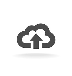 Cloud upload symbol Black wide outline style icon vector image vector image