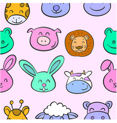Collection stock animal head various doodles vector