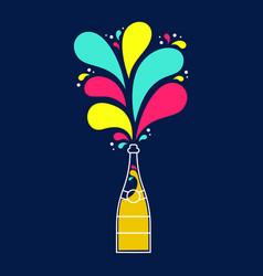 Colorful champagne party bottle splash design vector