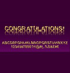 Congratulations gold alphabetic fonts vector