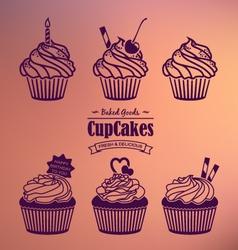 Cupcakes silhouette set vector