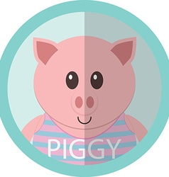 Cute piggy cartoon flat icon avatar round circle vector image