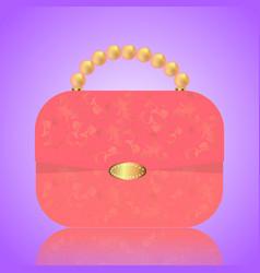 Detailed red female handbag on a white background vector
