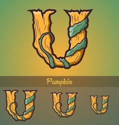 Halloween decorative alphabet - u letter vector