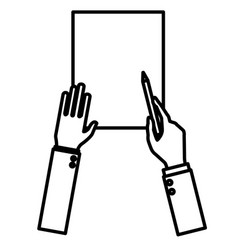 Hands planning with pencil on sheet vector