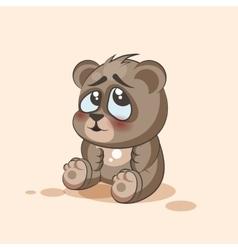 Isolated emoji character cartoon bear embarrassed vector