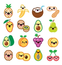 Kawaii fruit and nuts cute characters icons set vector