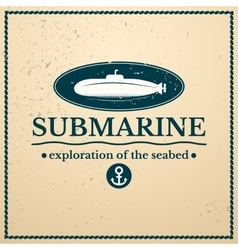 Label submarine exploration of the seabed vector image vector image