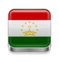 Metal icon of Tajikistan vector image vector image