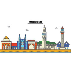 morocco city skyline architecture buildings vector image vector image