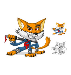 Ninja cat mascot cartoon character vector