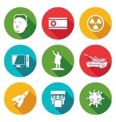 North korea icons set vector