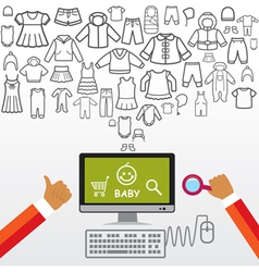Online shopping and modern technology vector image vector image