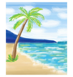 palm tree at the sea coast and the sea vector image