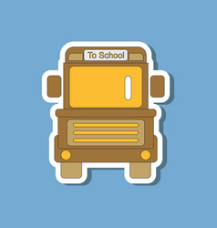 paper sticker on stylish background school bus vector image