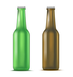 Realistic detailed green and brown glass beer vector