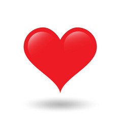 red heart on white background with shadow vector image vector image