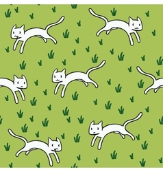 Seamless pattern with cute white cats vector image vector image