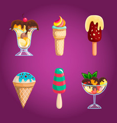 set with cartoon ice-cream vector image