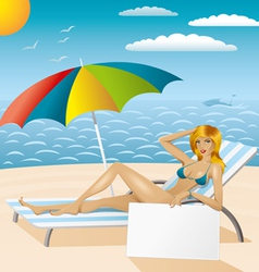 sexy woman in bikini on the beach with epmty board vector image