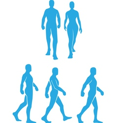 Silhouette of people walking in several poses vector