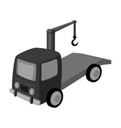 Tow truck icon in monochrome style isolated on vector