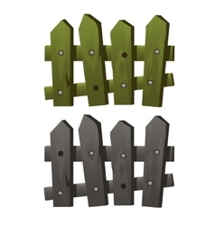 Two fragments wooden fence green and grey colors vector image
