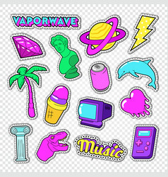 vaporwave teenager style doodle neon stickers vector image