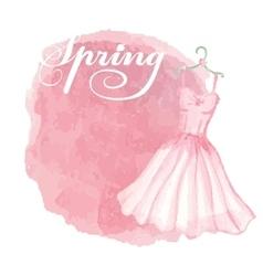 Vintage spring cardWatercolor pink dressspot vector image