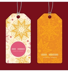 Warm stars vertical round frame pattern tags set vector