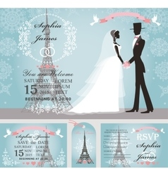 Wedding invitationsbridegroomsnowparis winter vector