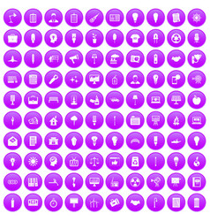 100 lamp icons set purple vector