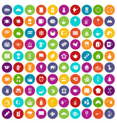 100 tea cup icons set color vector
