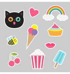 Quirky cartoon sticker patch set summer time vector