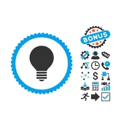 Electric bulb flat icon with bonus vector