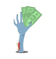 Dollar Bills in Zombie Hand Flat vector image