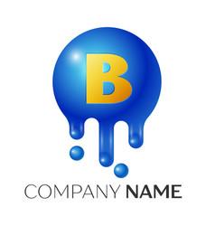 b letter splash logo blue dots and bubbles letter vector image