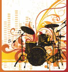 Grunge drum kit design vector