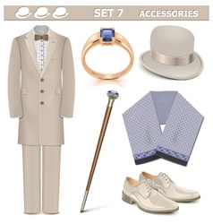 Male accessories set 7 vector
