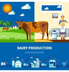 Dairy production set vector