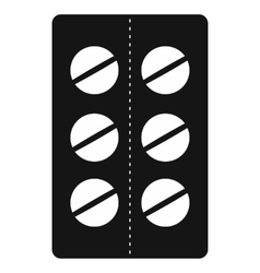 Pills in blister pack icon black simple style vector